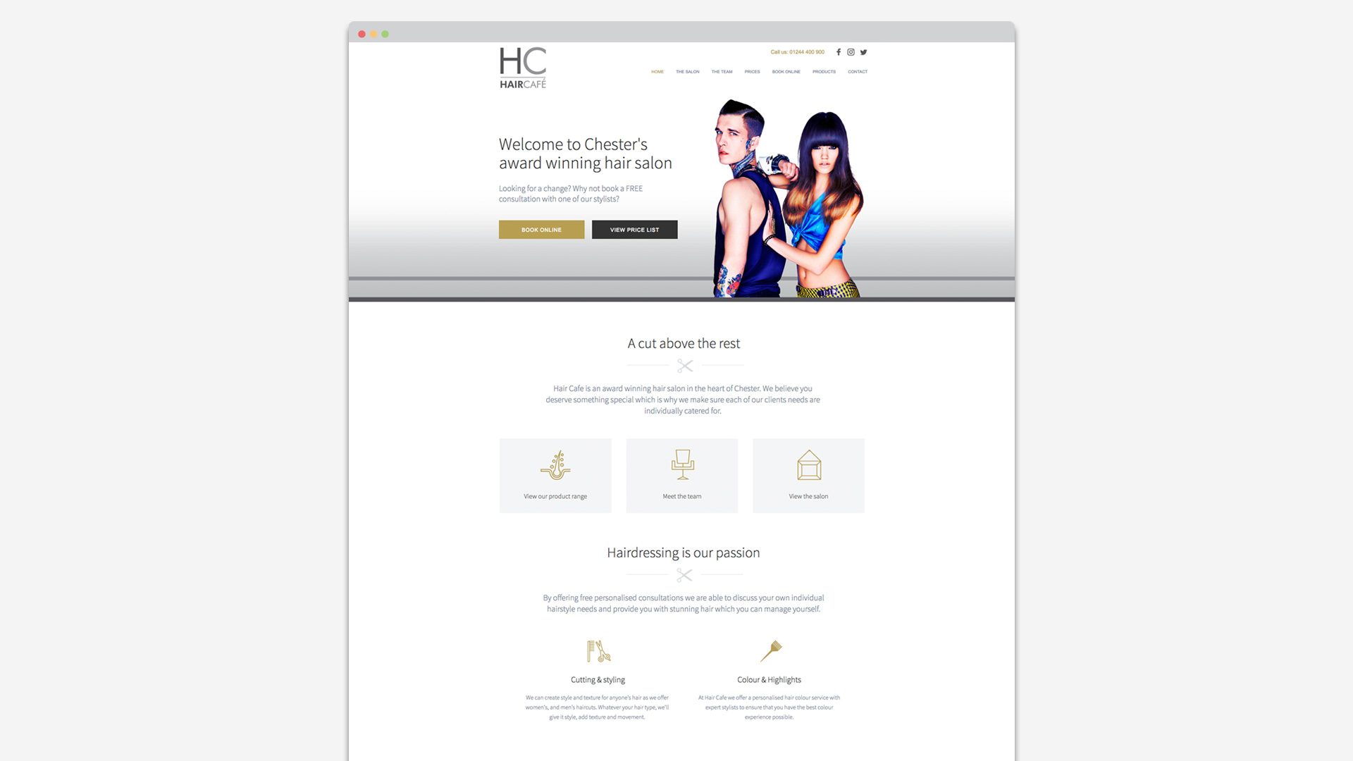 Haircafe website design