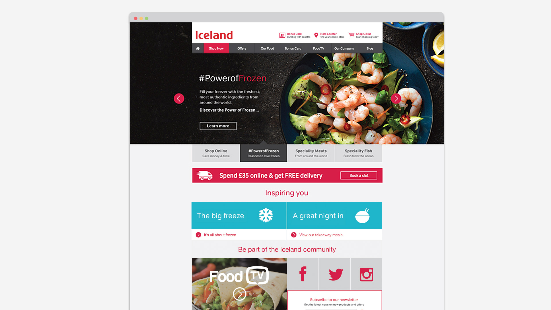 Iceland Foods website design
