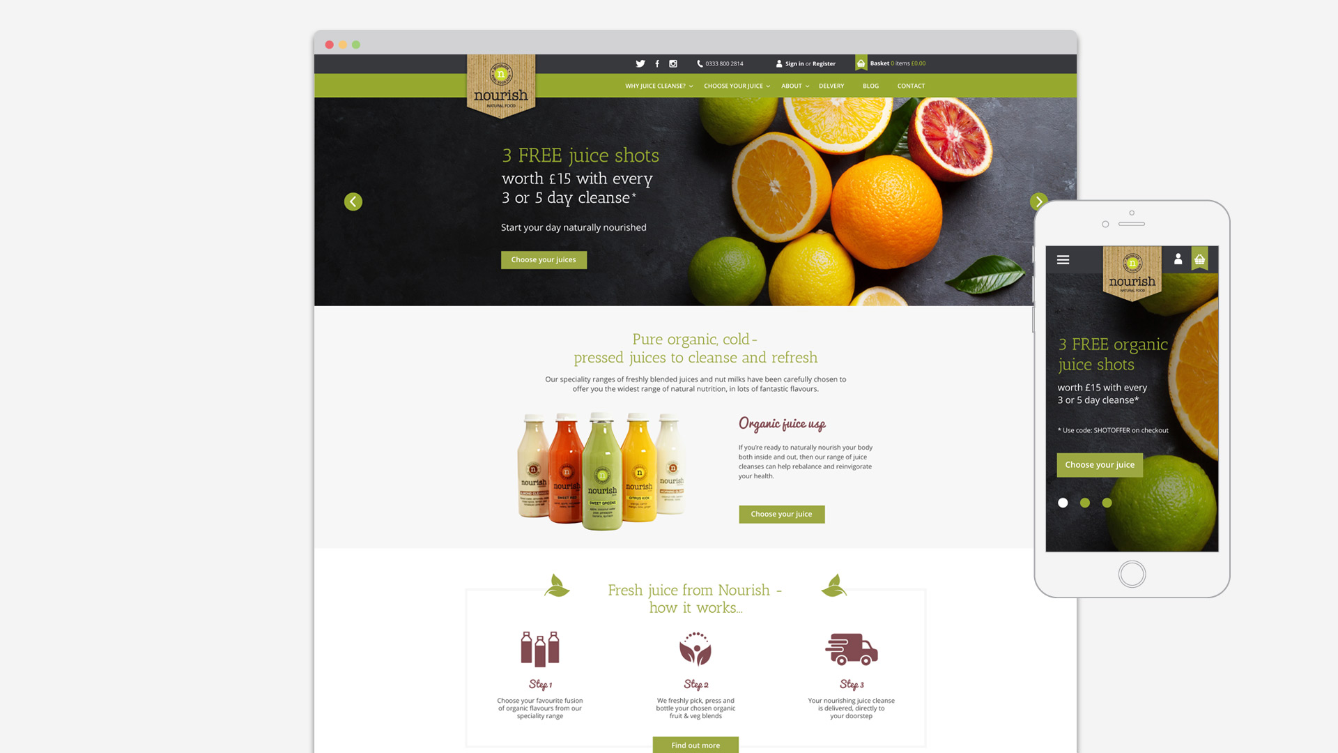nourish website design